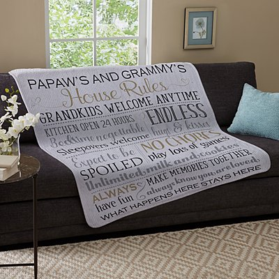 Grandparents Rules Plush Blanket