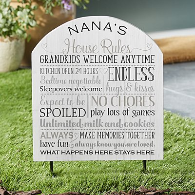 Grandparents Rules Wooden Outdoor Sign