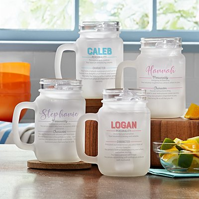 Name Meaning Frosted Mason Jar