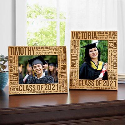 Words For Grad Wood Frame