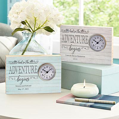 Adventure Begins Wood Clock