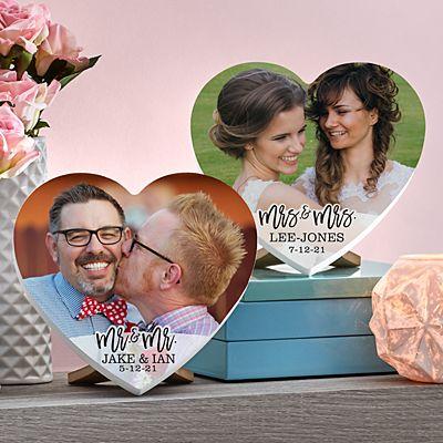 Modern Couple Photo Mini Wood Heart