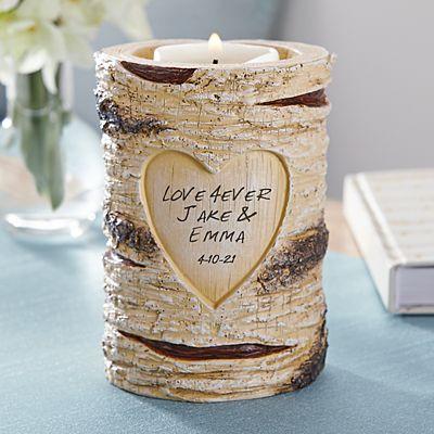 Carved Heart Candle Holder