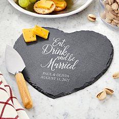 Eat, Drink & Be Married Heart Slate Server