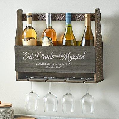 Eat, Drink & Be Married Wood Wine Rack