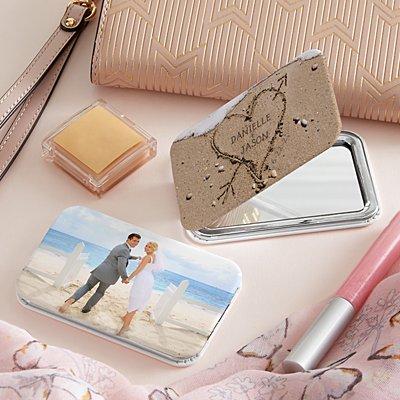 Heart in Sand Photo Purse Mirror