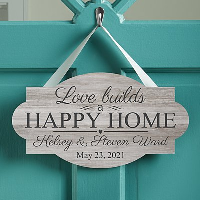 Love Builds a Happy Home Hanging Wood Sign