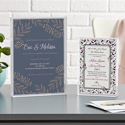 Wedding Invitation Keepsake Glass Block