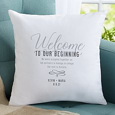 Welcome to Our Beginning Throw Pillow