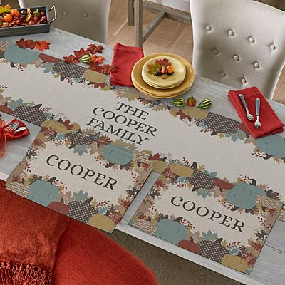 Leafy Pumpkins Table Runner & Placemats