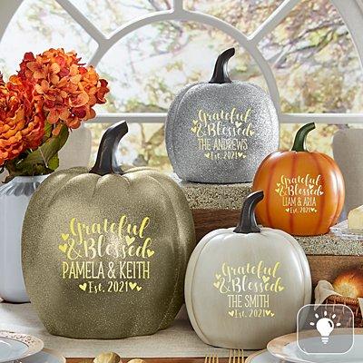 Light-Up Grateful & Blessed Pumpkin