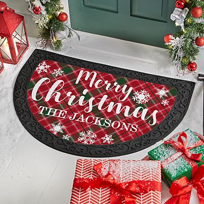 Merry Christmas Plaid Half Round Doormat