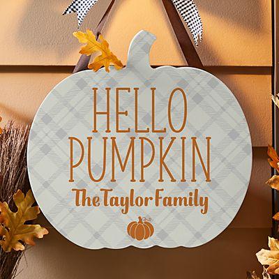 Plaid Pumpkin Hanging Wood Sign