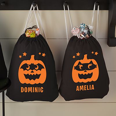 Pumpkin Bandits Reflective Drawstring Treat Bag