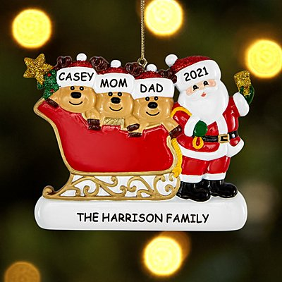 Santa and Reindeer Family Ornament