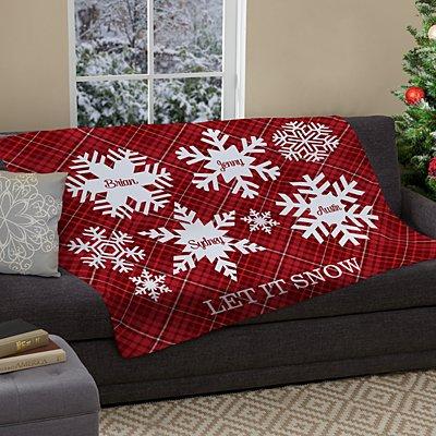 Snowflake Flurry Family Plush Blanket