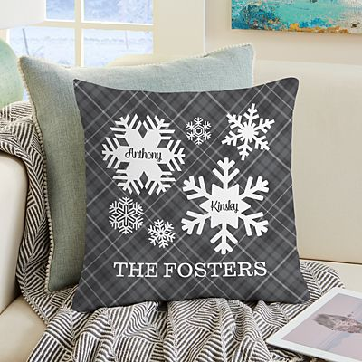 Snowflake Flurry Family Throw Pillow