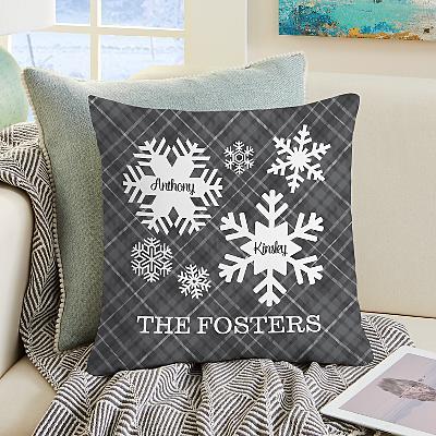 Snowflake Flurry Family Cushion