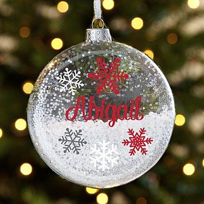 Snowflake Name Glitter Glass Ornament