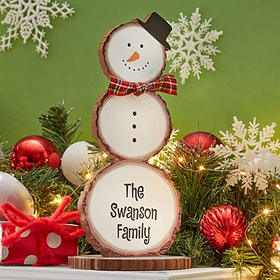 Winter Wishes Wood Snowman