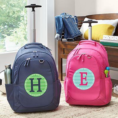 Allover Name Rolling Backpack