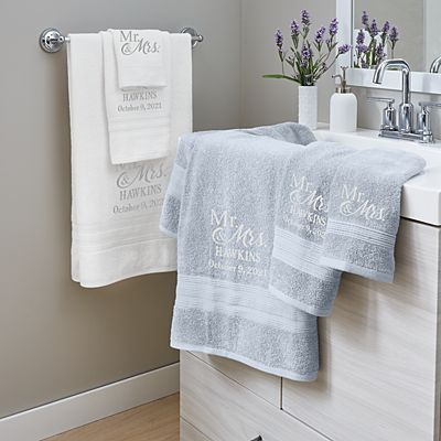 Embroidered Couple Bath Towels