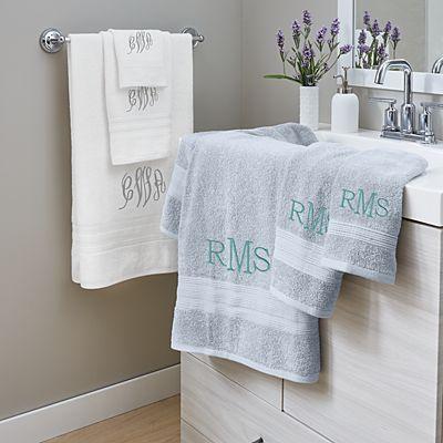 Embroidered Monogram Bath Towels
