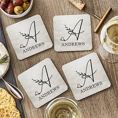 Floral Charm Monogram Wood Coasters
