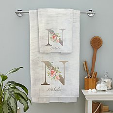Sophisticated Floral Family Name Bath Towels