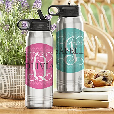 Initial with Name Stainless Steel Water Bottle