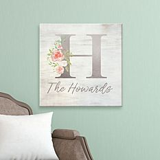 Sophisticated Floral Family Name Canvas