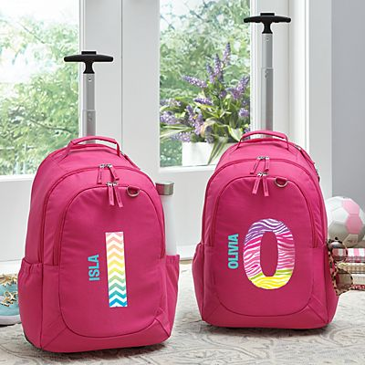 Pretty Pattern Pink Rolling Backpack