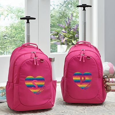 Rainbow Glitter Heart Initial & Name Pink Rolling Backpack