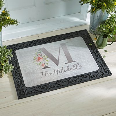 Sophisticated Floral Family Name Doormat