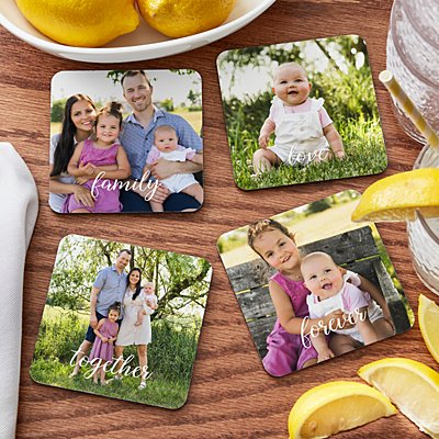 Sophisticated Script Photo Wood Coasters