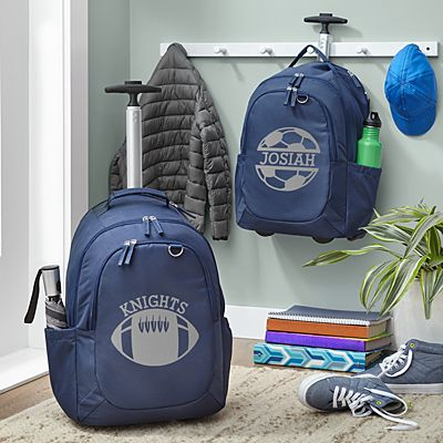 Sporty Fun Navy Rolling Backpack