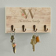 Sophisticated Floral Family Name Keyhook