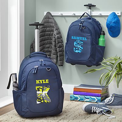 Their Own Name Navy Rolling Backpack