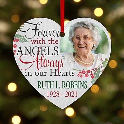 Forever with the Angels Photo Heart Ornament