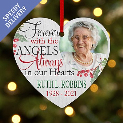 Forever with the Angels Photo Heart Bauble