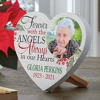 Forever with the Angels Photo Mini Wood Heart
