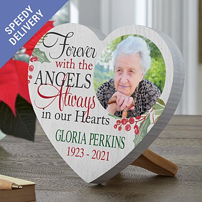 Forever with the Angels Photo Mini Wooden Heart