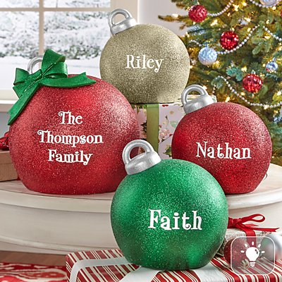 Glitter Light Up Table Top Ornament
