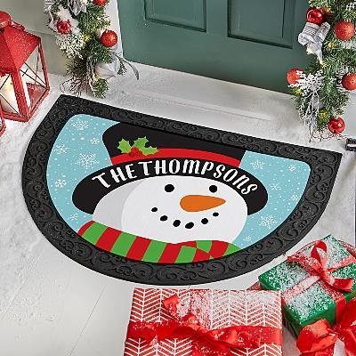Jolly Snowman Half Round Doormat
