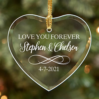 Love You Forever Glass Heart Ornament