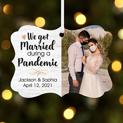 Married During a Pandemic Photo Scroll Ornament