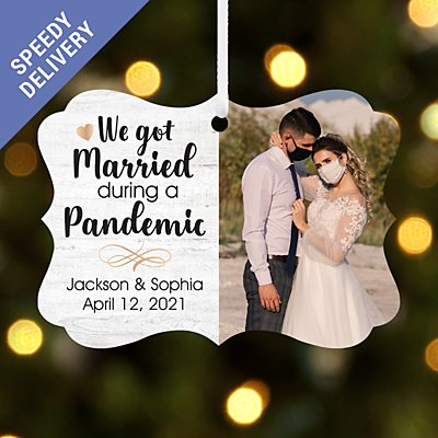 Married During a Pandemic Photo Scroll Bauble