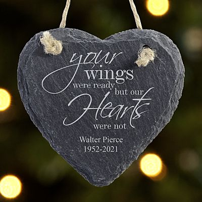Memorial Wings Heart Slate Ornamnent