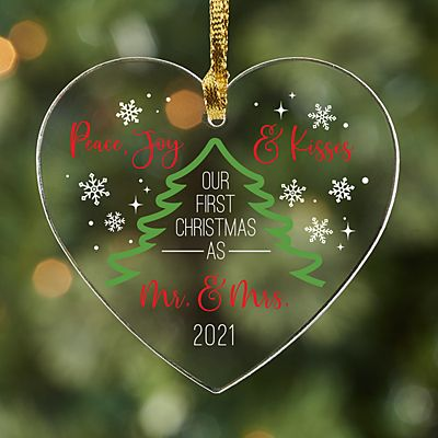 Peace, Joy & Kisses Acrylic Heart Ornament