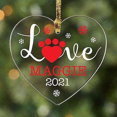 Pet Love Acrylic Heart Ornament
